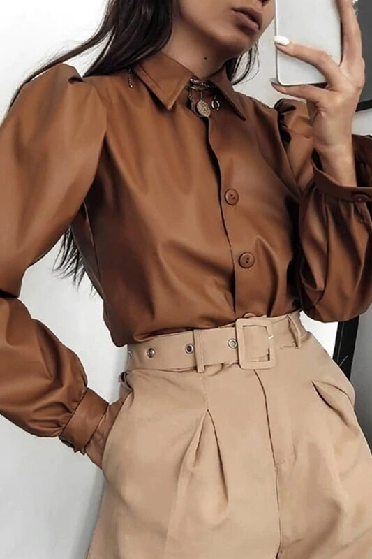 Blouses   Puff-Sleeve-Pleather-Blouse