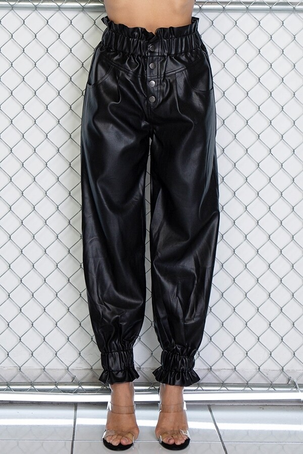 Pants   Solid-Pleather-Color-Slouchy-Pants