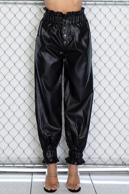 Pants | Solid-Pleather-Color-Slouchy-Pants