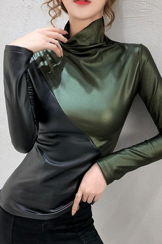 Blouses   Long-Sleeve-Diagonal-color-Turtleneck