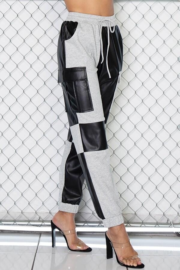 Pants | Pleather-Contrast-Cargo-Joggers