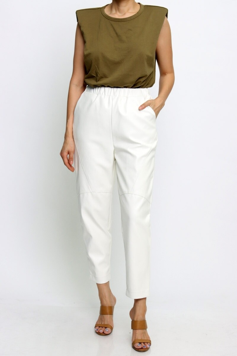 Pants | Solid-Pleather-Color-Pull-on-Pants