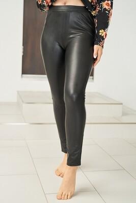 Leggings   Solid-Pleather-Legging
