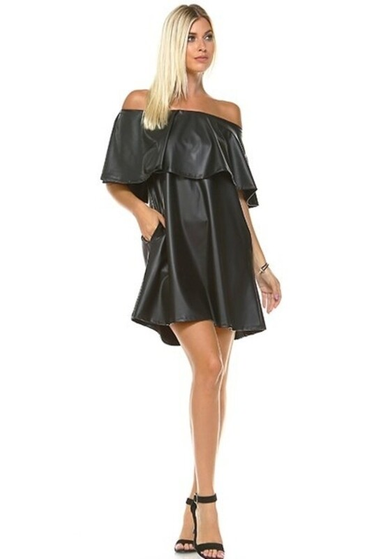 Dress |Off-The-Shoulder-Pleather-Swing-Dress