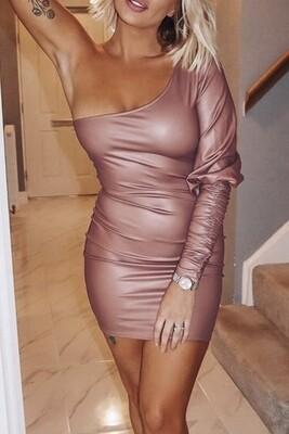 Dress |Pleather-Slant-Shoulder-Dress