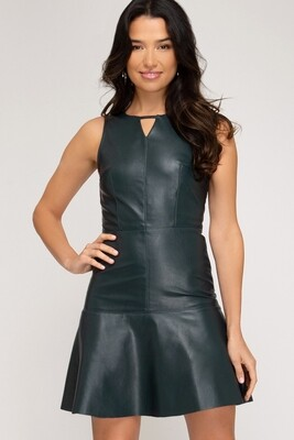 Dress |Faux-Leather-Trumpet-Dress