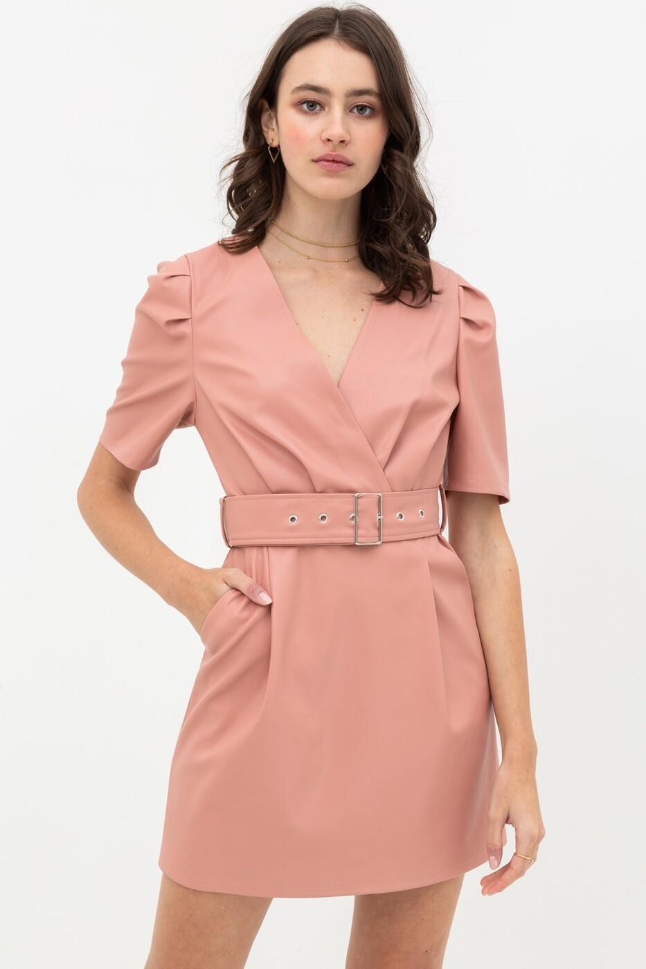 Dress  Pleather-Belted-Dress