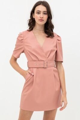 Dress |Pleather-Belted-Dress