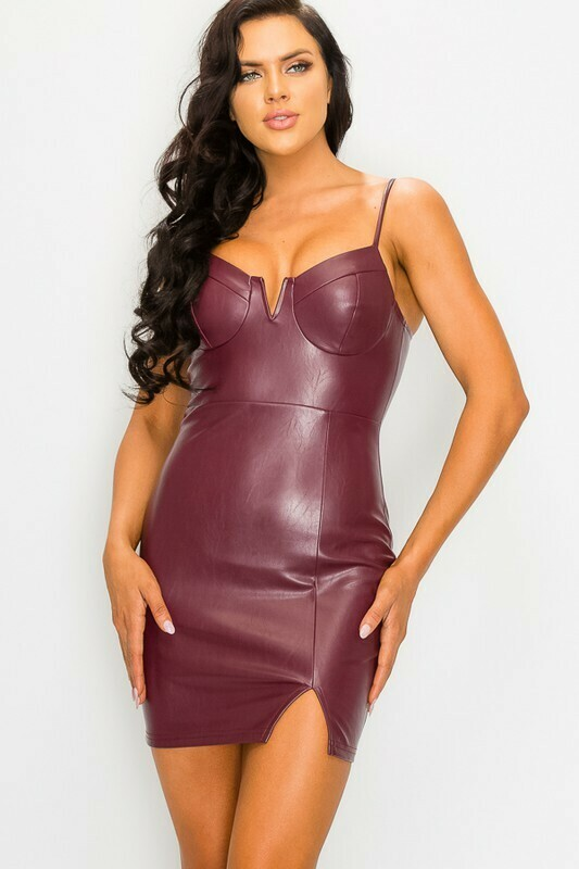 Dress |Pleather-V-Wire Bustier Dress