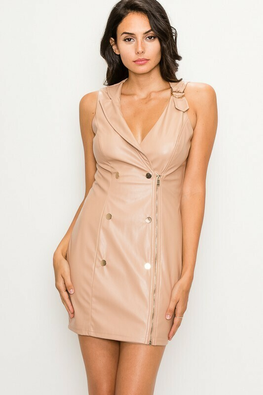 Dress  Double-Breasted-Pleather-Mini-Dress