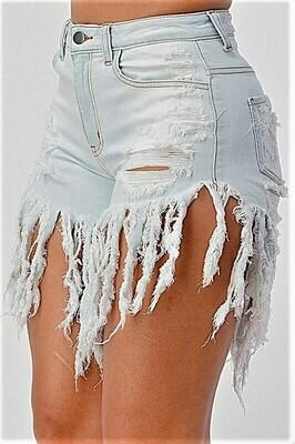 Pants| Lt Denim High Rise Fringe Shorts