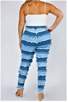 Pants| High Rise Patchwork Skinny Jeans