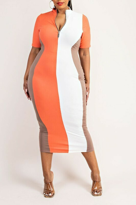 Dresses| Tri-Color Zip-Front Midi Dress