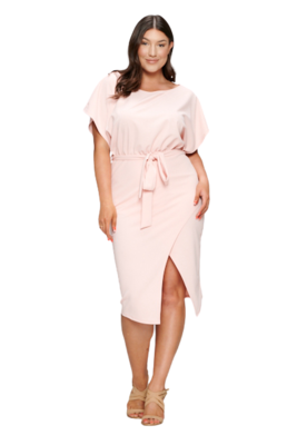 Plus Size Dresses| Midi Boatneck Wrap Dress