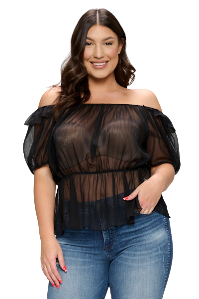Plus Size Blouses| Sheer Crinkled Woven Blouse