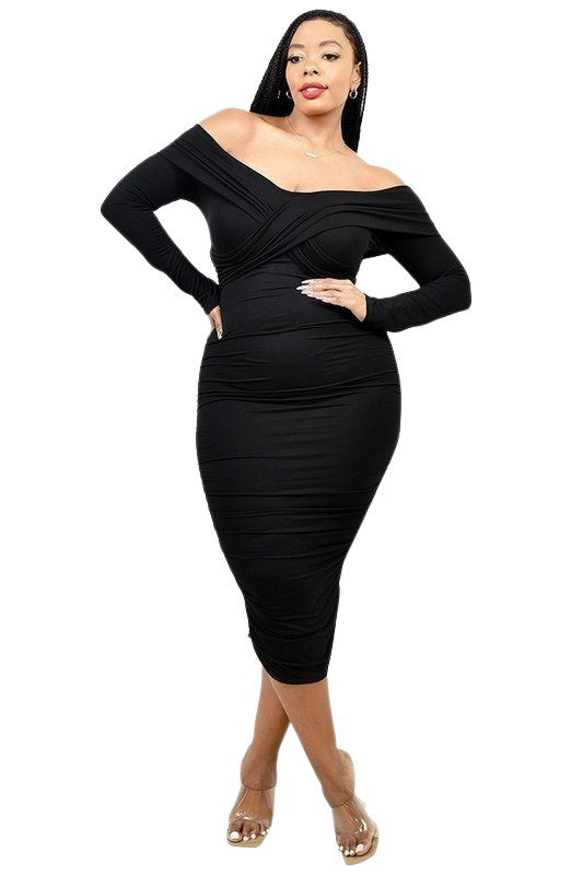 Plus Size Dresses   Cross Shoulder Band Dress from Discount Diva