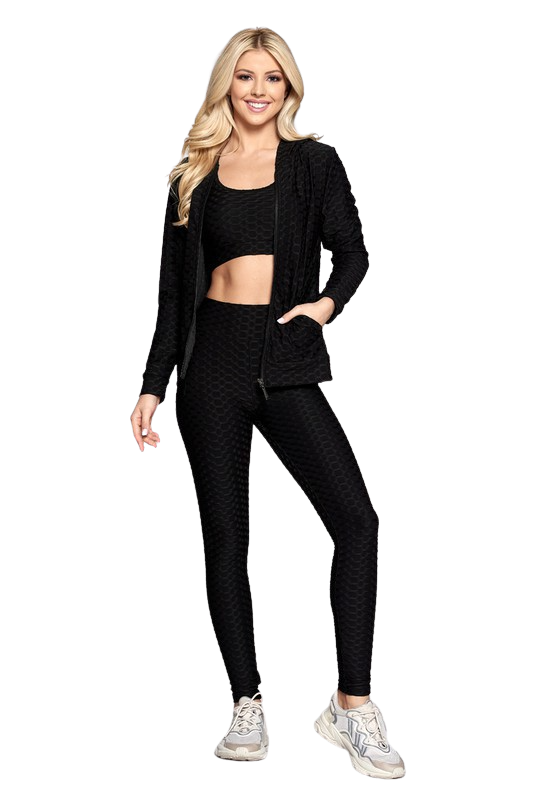 Activewear| 3pc Solid Scrunch Bra Top, Jacket & Booty lifting leggings