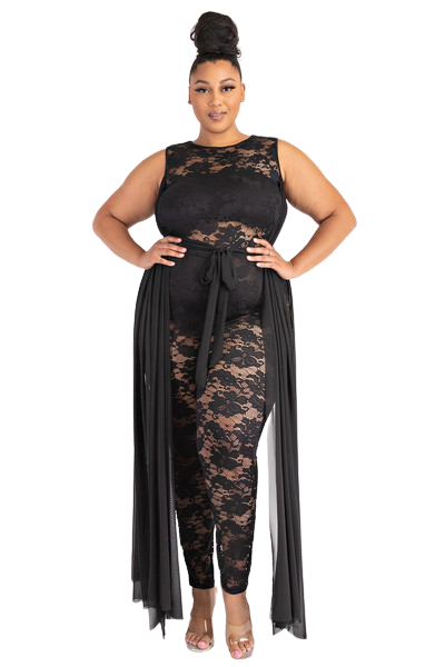 Jumpsuits  Sheer Lacey Jumpsuit from Discount Diva