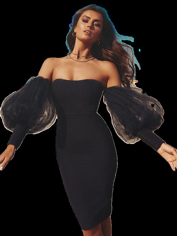 Dresses  Sexy Off the Shoulder Black Mesh Dress