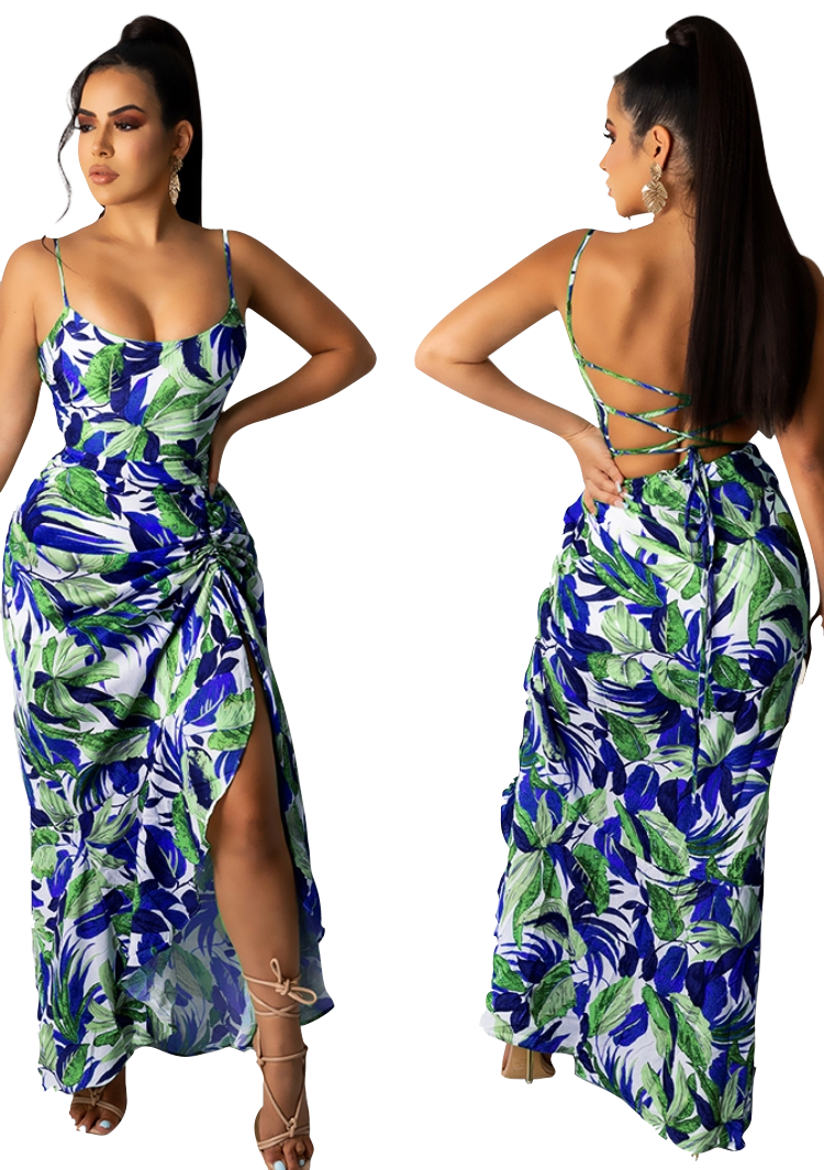 Dresses| Summer Print Multicolor Lace string Sundress