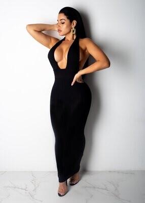 Dresses| Sexy Black Plunging Neckline Maxi Dress