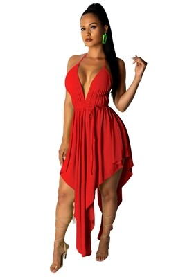 Dresses| Deep Halter V Neckline with uneven hem