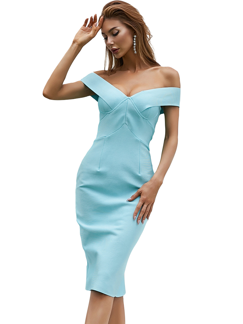 Style Drops  Sexy Off Shoulder Bodycon Bandage Dress White Runway