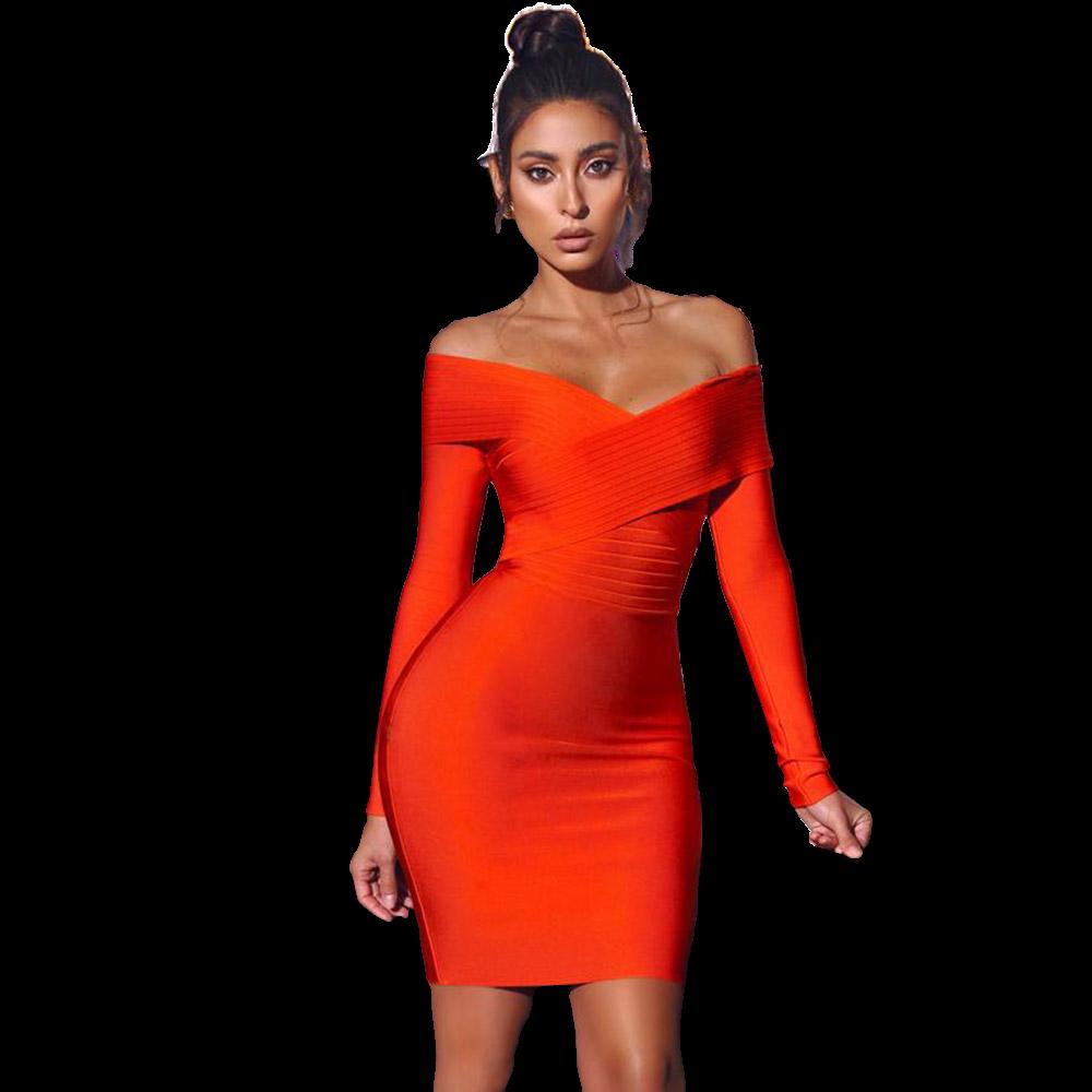 Style Drops  Off Shoulder Orange Bandage Dress Long Sleeve