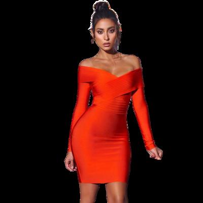 Style Drops| Off Shoulder Orange Bandage Dress Long Sleeve