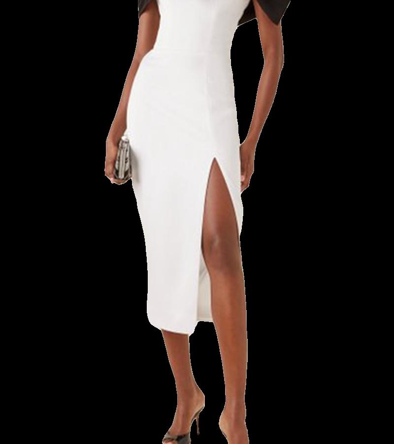 Style Drops| Off Shoulder High Split Bow Bandage Dress