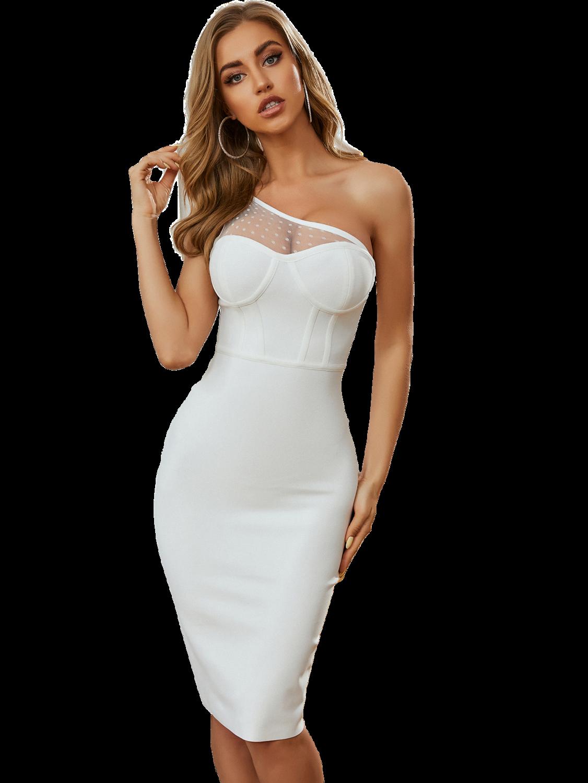 Style Drops  Fashion Women Dress One Shoulder Knee Length Sexy Dress