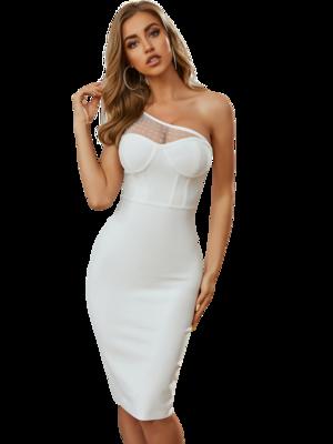 Style Drops| Fashion Women Dress One Shoulder Knee Length Sexy Dress