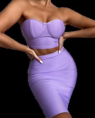 Style Drops| Bright Purple Two-Piece Design Bandage Dress Cyan Black