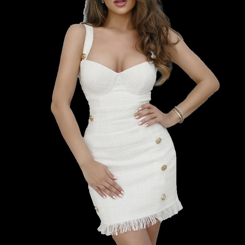 Style Drops| 2pcs Suit Tassel Sexy Open Back Dress & Coat
