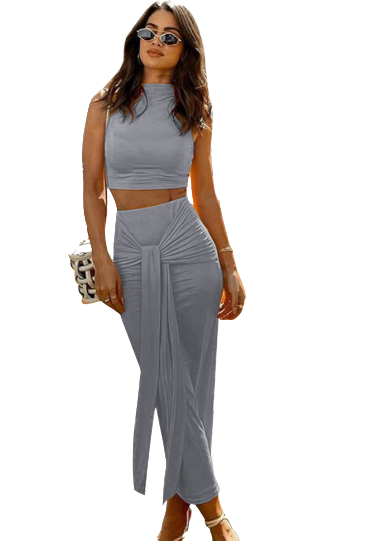 Style Drops  Solid color, Sleeveless Crop Top with knotted Midi Skirt Set