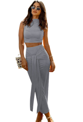 Style Drops| Solid color, Sleeveless Crop Top with knotted Midi Skirt Set