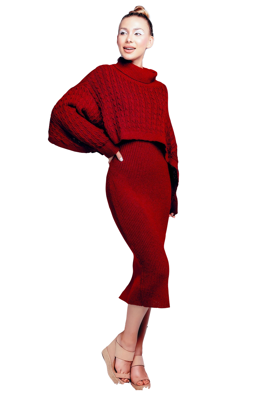 Style Drops| Ribbed Sleeve Shawl n Sweater Dress