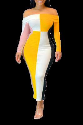 Sales | Ribbed Off-The-Shoulder Long Sleeve Color Block Dress