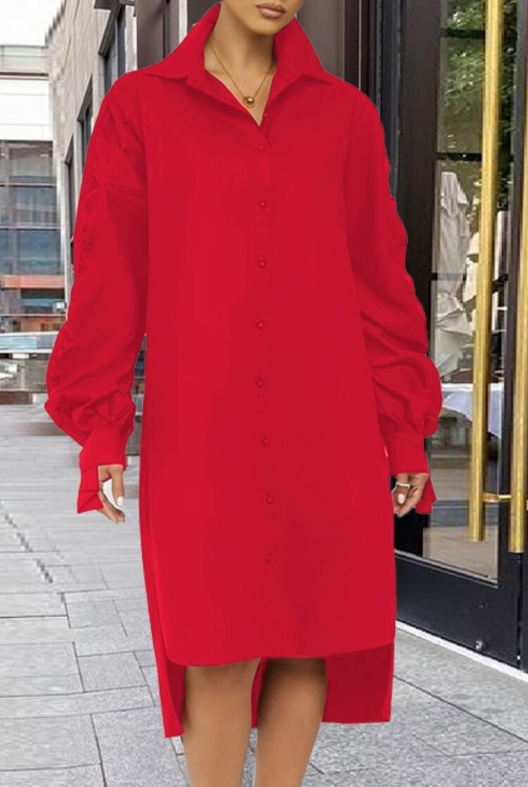 Style Drops| Puff Sleeve High Low Long Blouse Dress