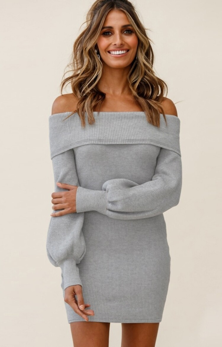 Style Drops  Off Shoulder Knitted Dress with Puff Sleeve
