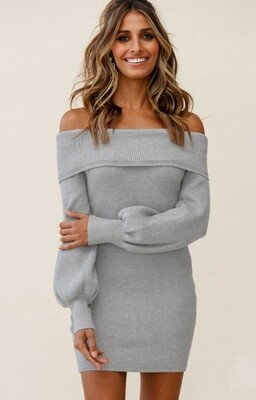 Style Drops| Off Shoulder Knitted Dress with Puff Sleeve