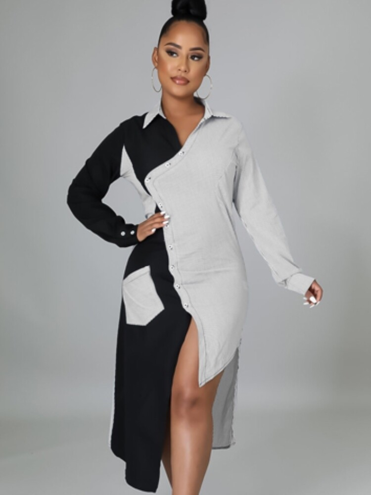 Style Drops| Trendy Turndown Collar Long Sleeve Irregular Shirt Dress