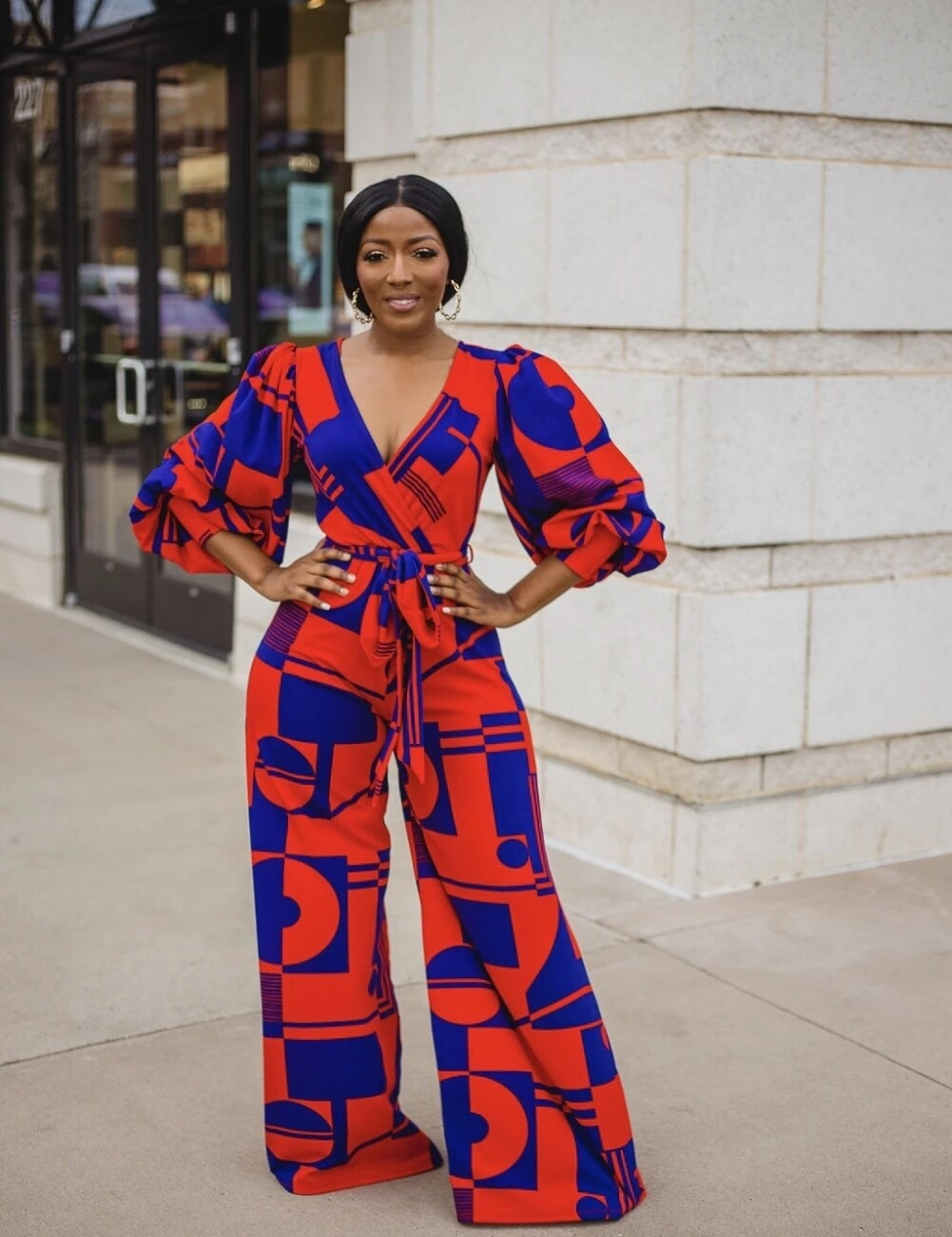 Pants  Geometric Wrapped Jumpsuit with Pop Sleeves