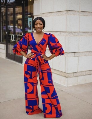 Pants| Geometric Wrapped Jumpsuit with Pop Sleeves
