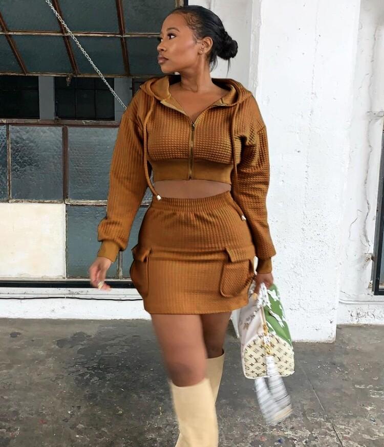 Style Drops  2pc Casual Hoodie Mini Skirt Set