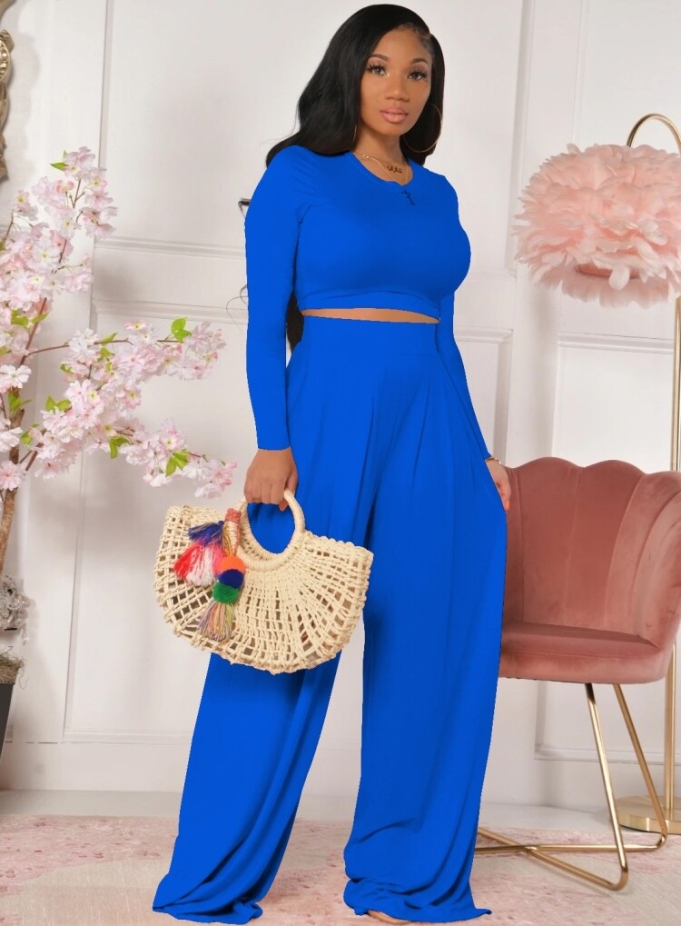 Style Drops| Sexy Crop Top and Matching Wide Leg Pant Set