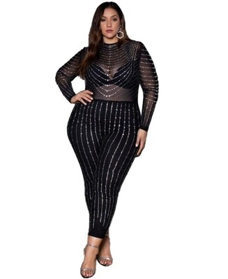 Style Drops| Sexy Plus-Size Beaded Jumpsuit