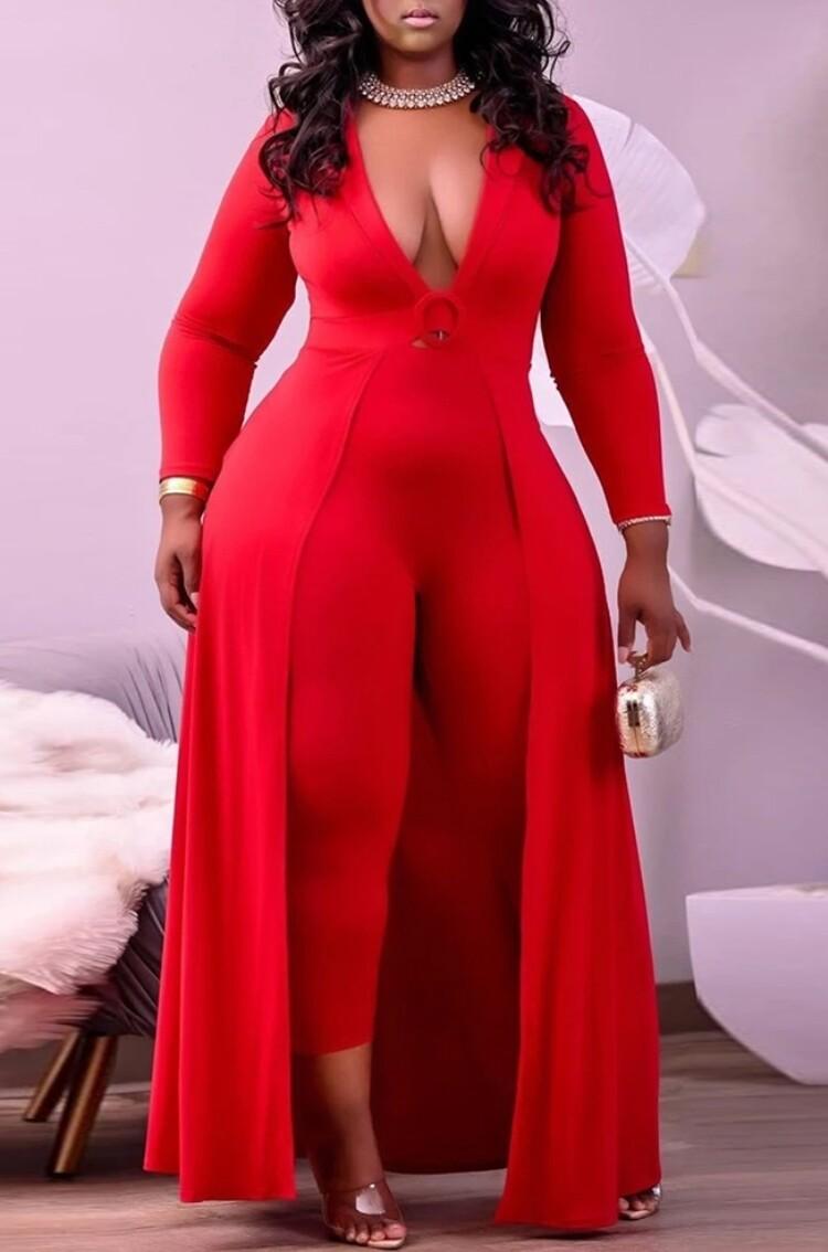 Style Drops  Plus Size Jumpsuit w/Attached Skirt