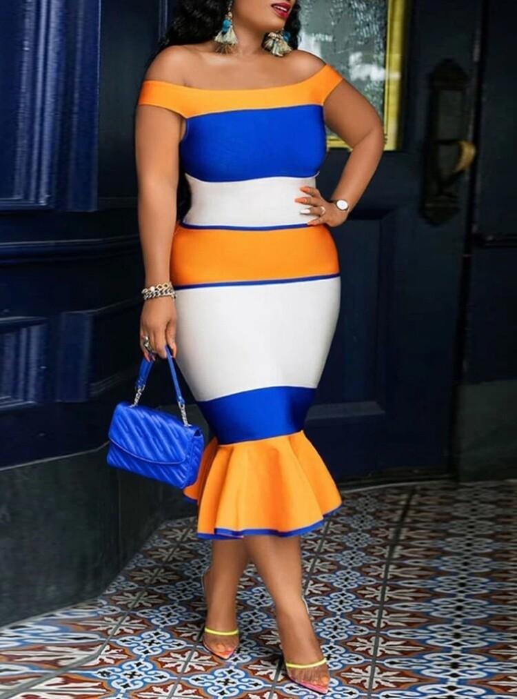 Style Drops|Plus Size Off Shoulder Striped Mermaid Midi Dress