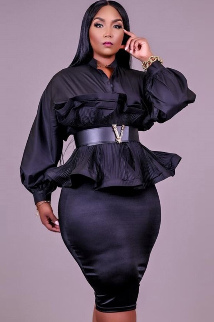 Style Drops  Plus Size Peplum Puff Sleeve Blouse and Pencil Skirt